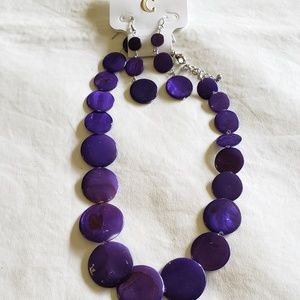 Charming Charlie Purple Shell Necklace Earring Set